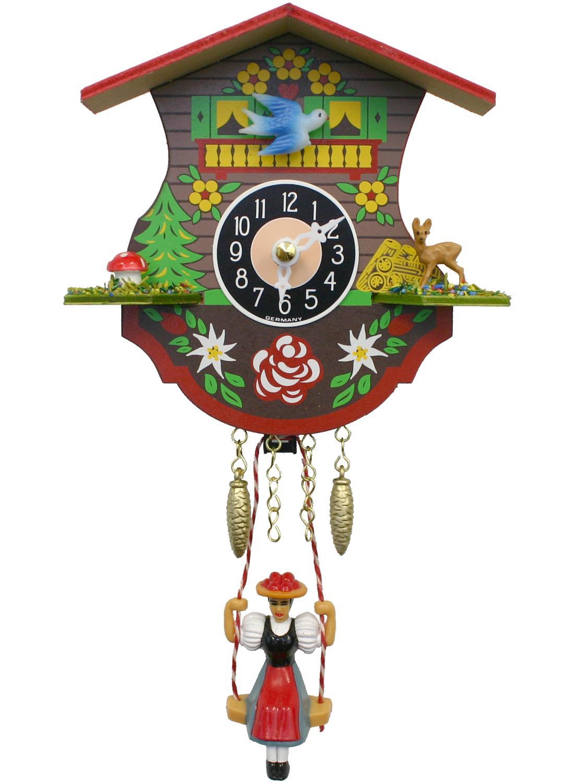 Black forest girl pendulum mini clock, piss contest video