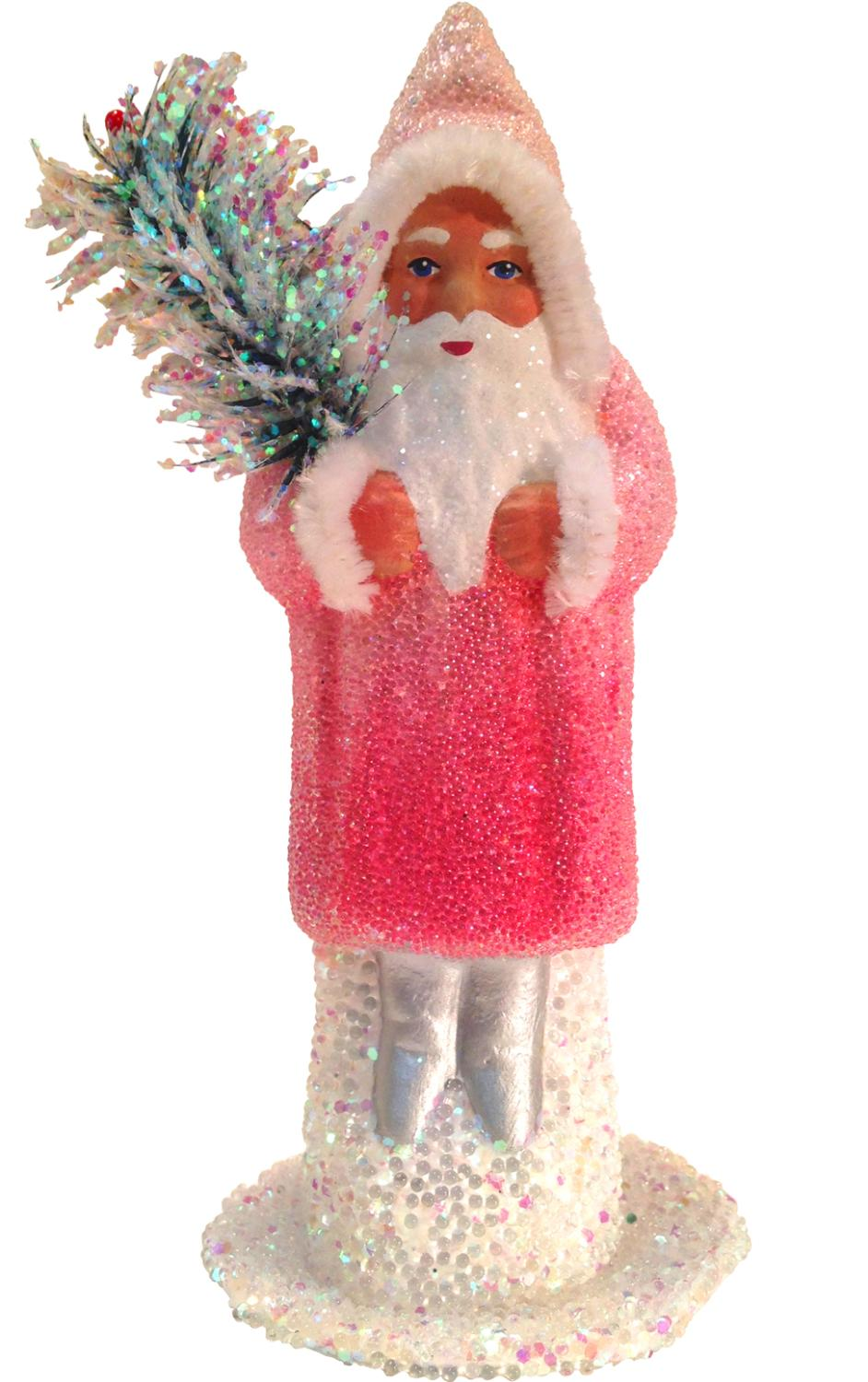 01514 - Schaller Paper Mache Candy Container - Santa Rose Coat with Glitter - 6.5