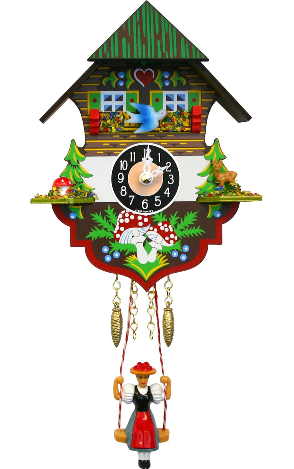 0197SQ - Engstler Battery-operated Clock - Mini Size with Music/Chimes - 6.5