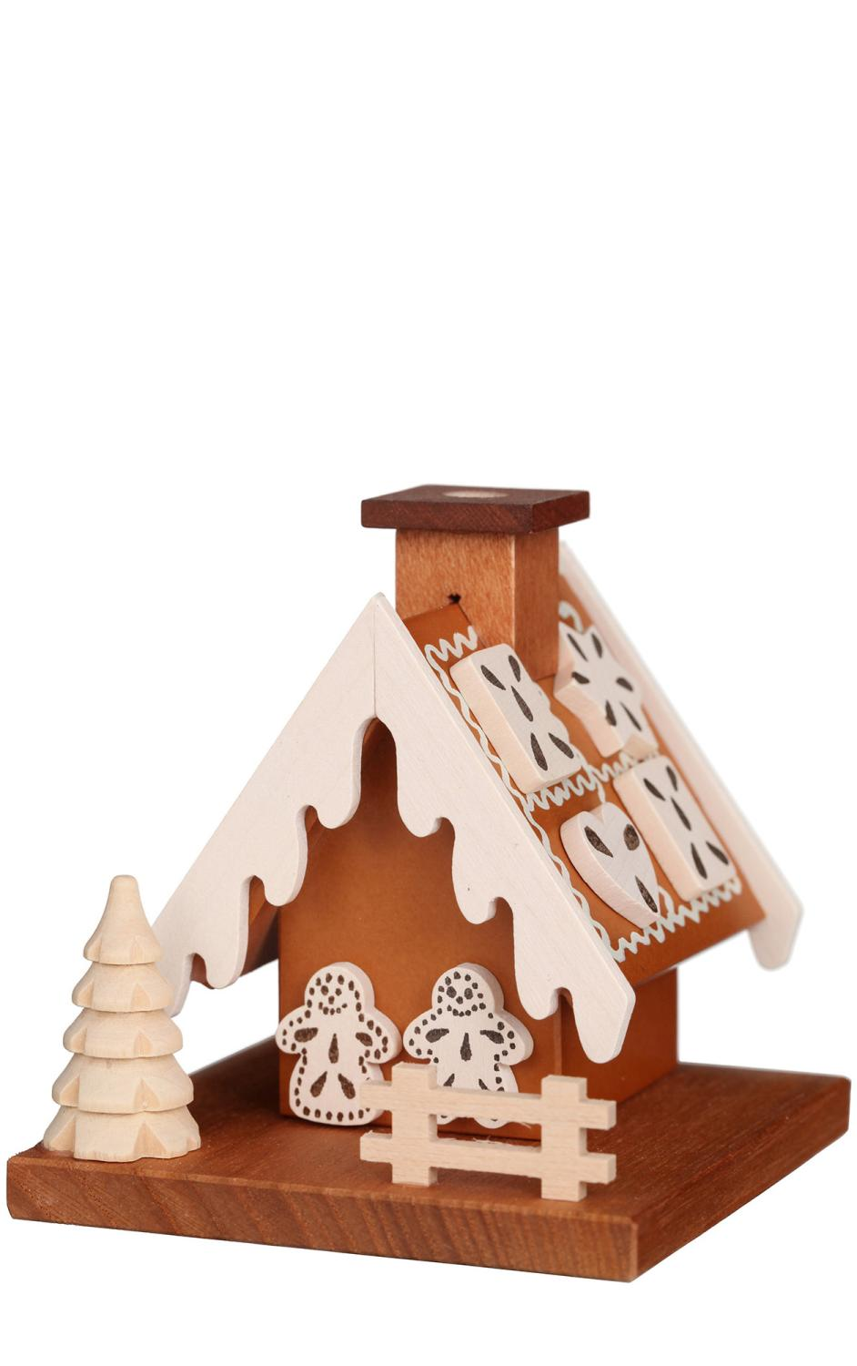 1-033 - Christian Ulbricht Incense Burner - Gingerbread House (Natural) - 3.5