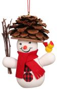 10-0201 - Christian Ulbricht Ornament - Snowman Wearing Pinecone Hat - 3.5