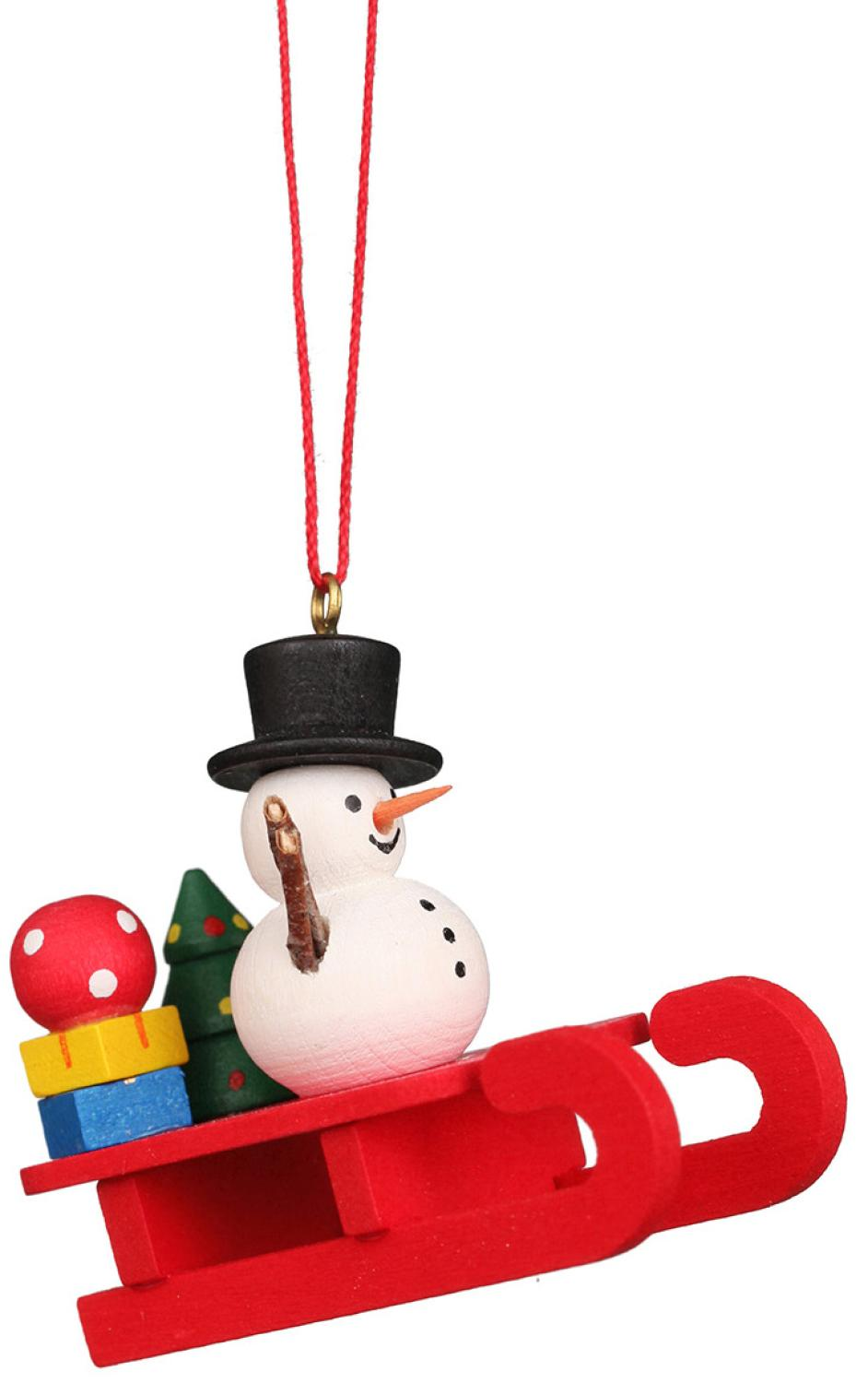 10-0432 - Christian Ulbricht Ornament - Snowman on Sled - 2