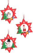 Christian Ulbricht Ornament - Assorted Red Stars with Snowman/Santa/Angel- set 6