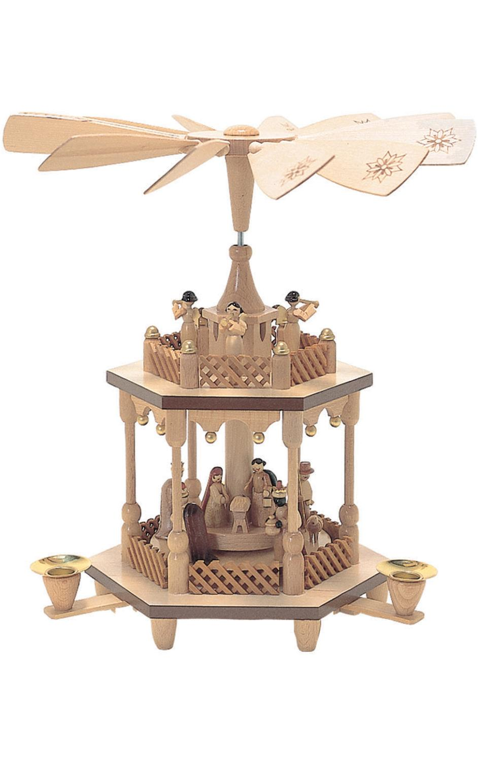 1371 - Richard Glaesser Pyramid - 2 tiers Nativity Scene and Angel Musicians - 12.5