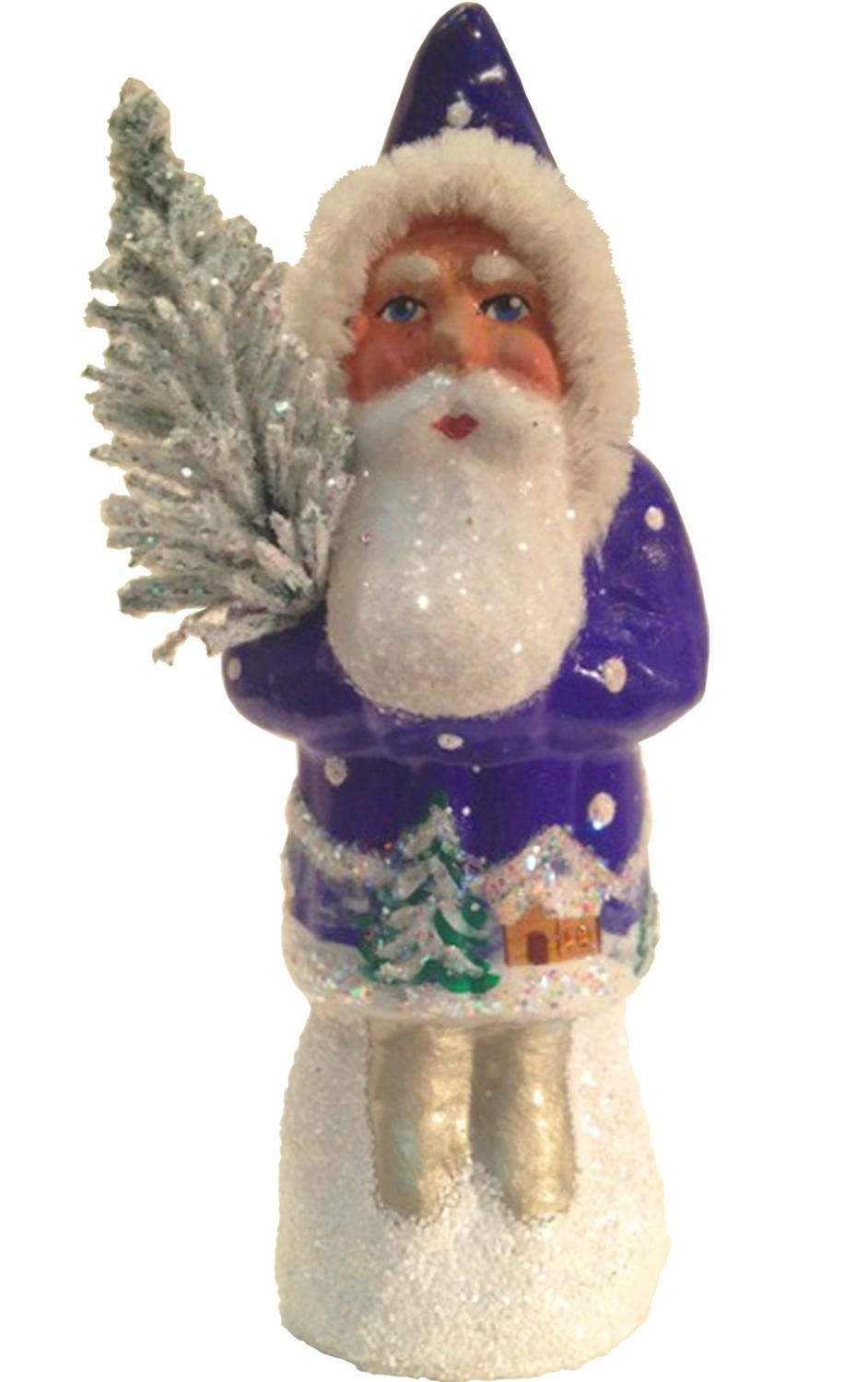1409 - Schaller Paper Mache Candy Container - Santa Blue Coat with Tree - 3.5