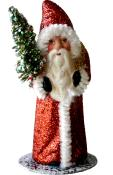 1413-3 - Schaller Paper Mache Candy Container - Santa Copper Glitter Coat with Tree - 5.5