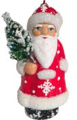 16-10 - Schaller Paper Mache Ornament - Red Santa with Snowflake - 3.25