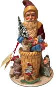 1745 - Schaller Paper Mache Candy Container - Santa Red with Gifts - 7