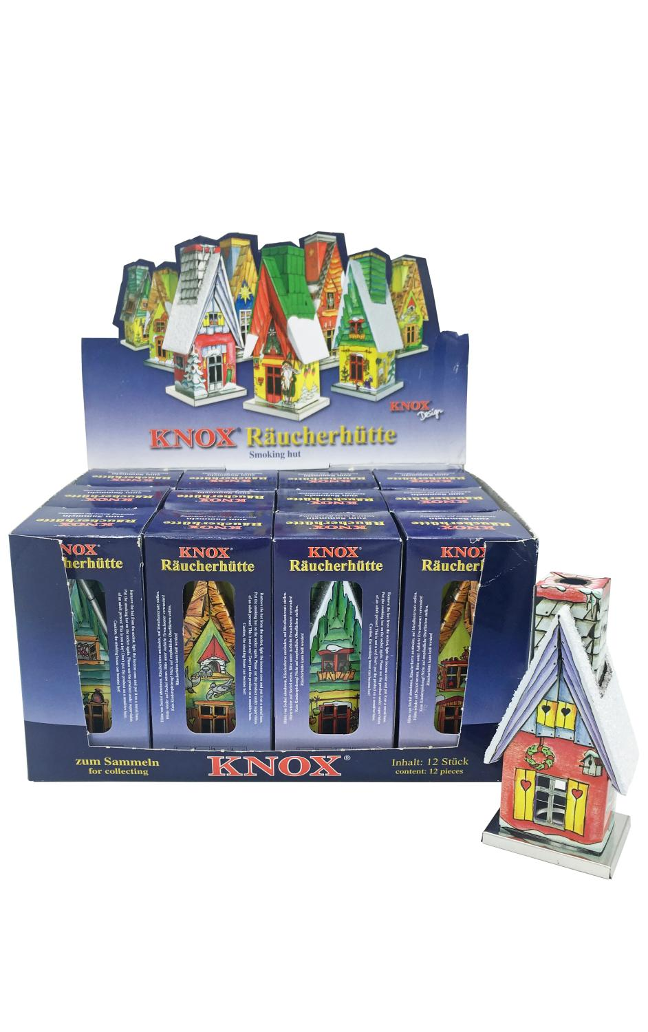 203020 - Knox Metal Incense House - Assorted Houses - Display box of 12 pieces - 10.5