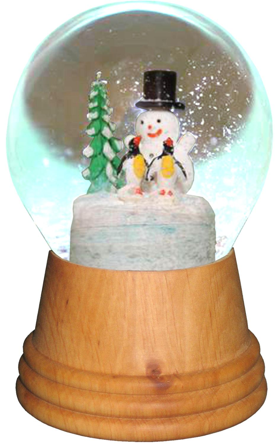 2423 - Perzy Snowglobe, Medium Snowman with Penguin with wooden base - 5