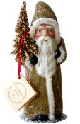 91712 - Schaller Paper Mache Candy Container - Santa w Gold Coat and Tree - 6