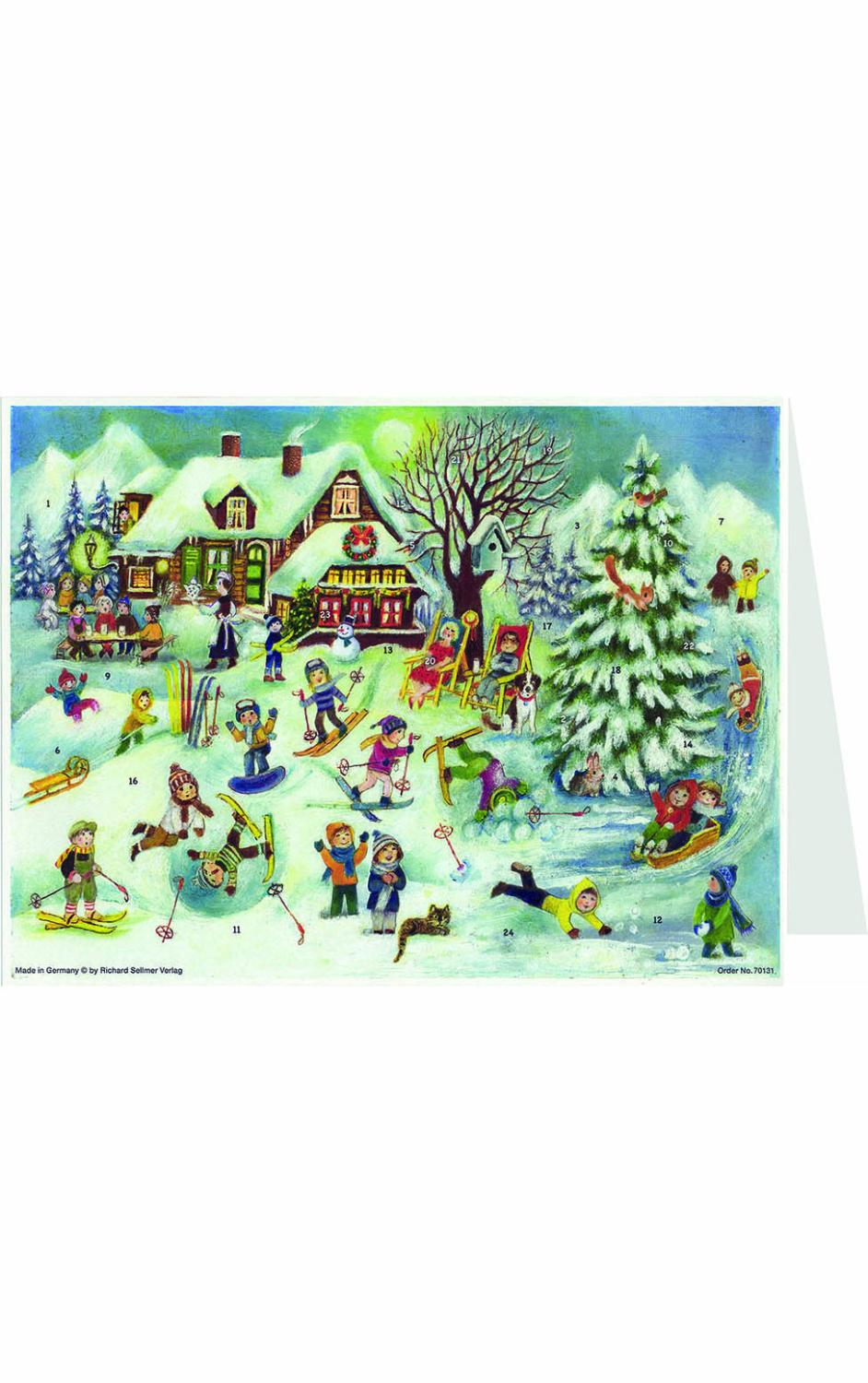 ADV40131 - Sellmer Advent Postcard - Ski Hut With Children Playing - 4.5