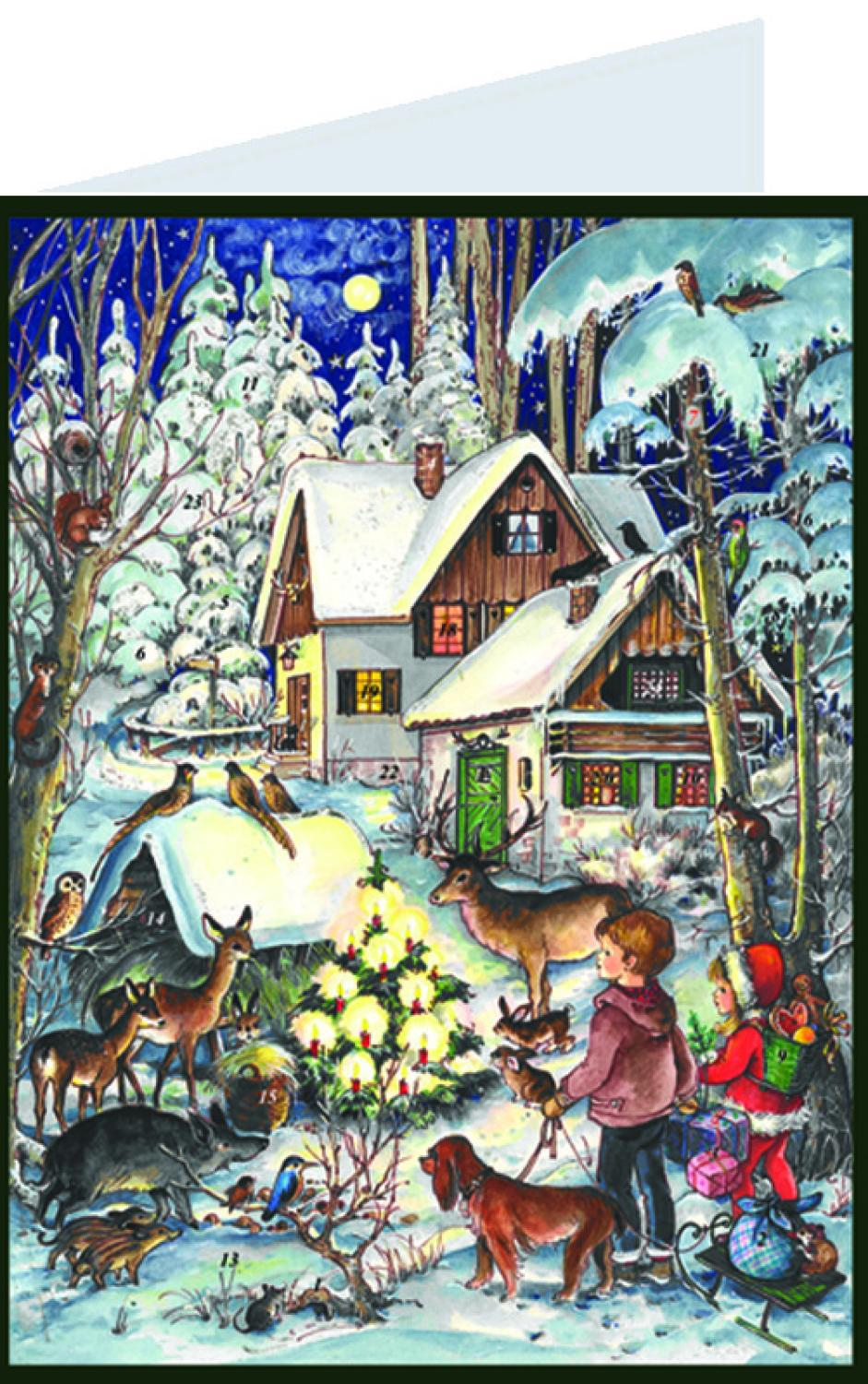 ADV409 - Sellmer Postcard Advent - Forest Animals Scene - 5.75