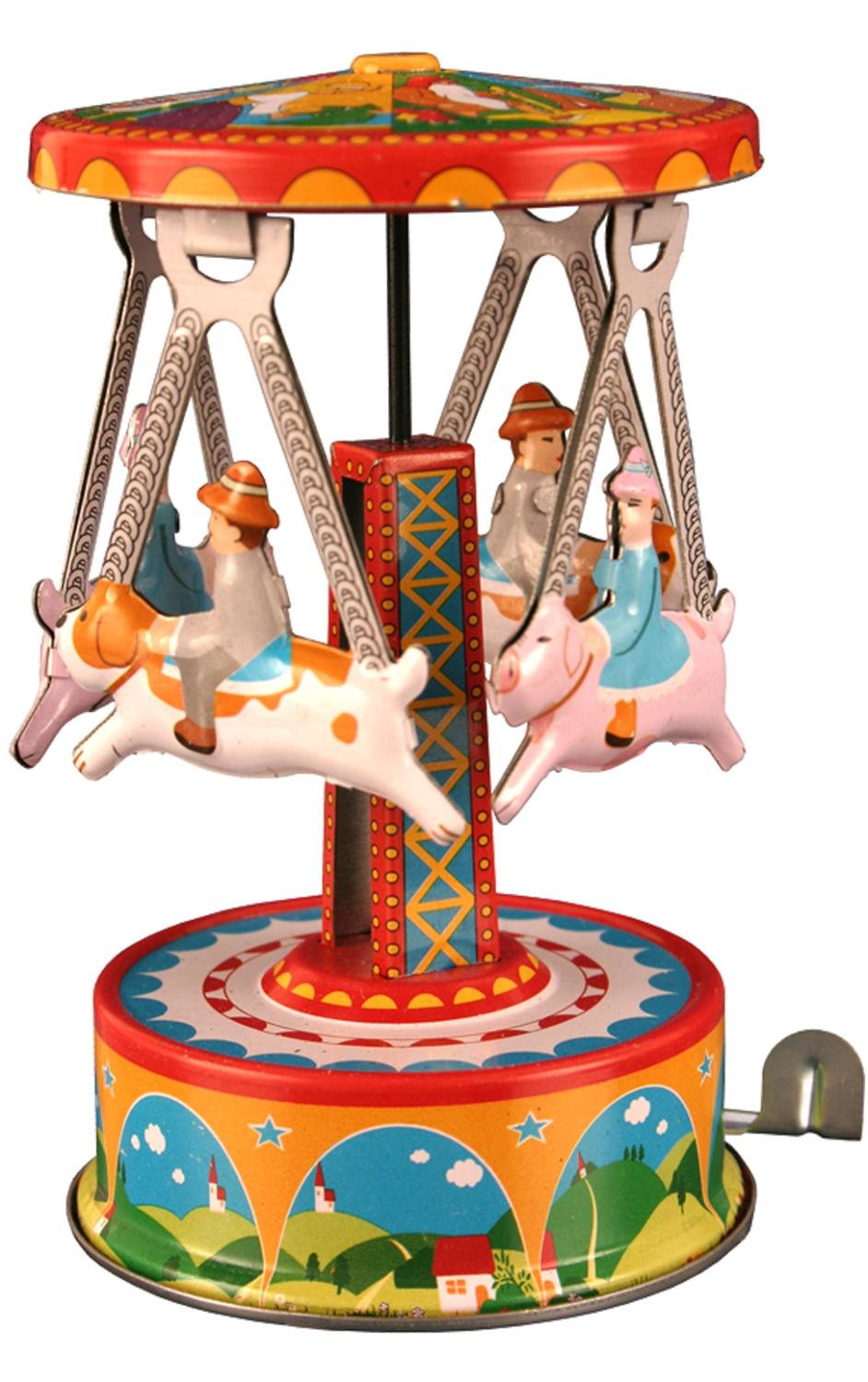 MF356 - Collectible Tin Toy - Carousel with Dogs - 4.5