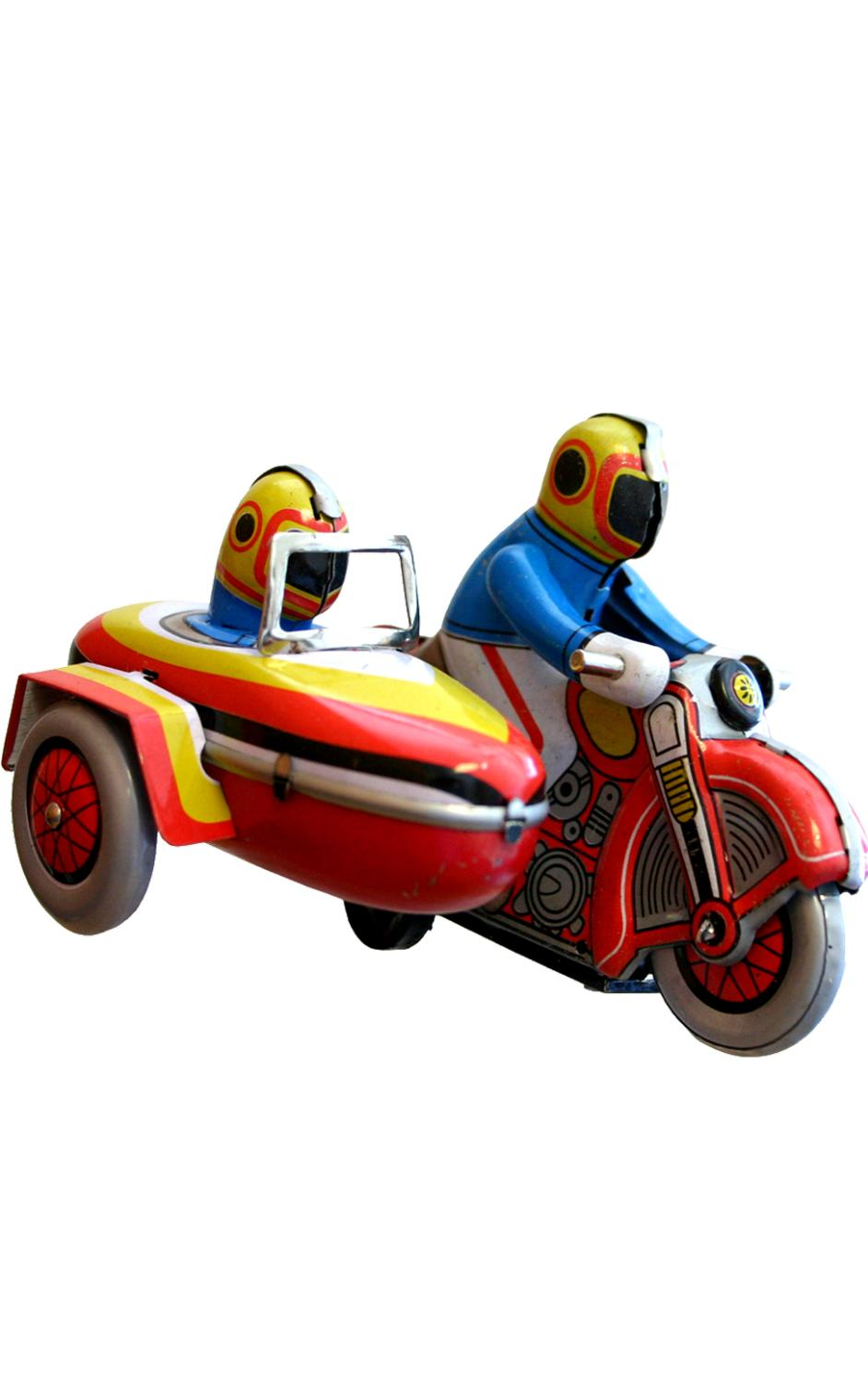 MS281 - Collectible Tin Toy - Motorcyle with Sidecar - 3.25