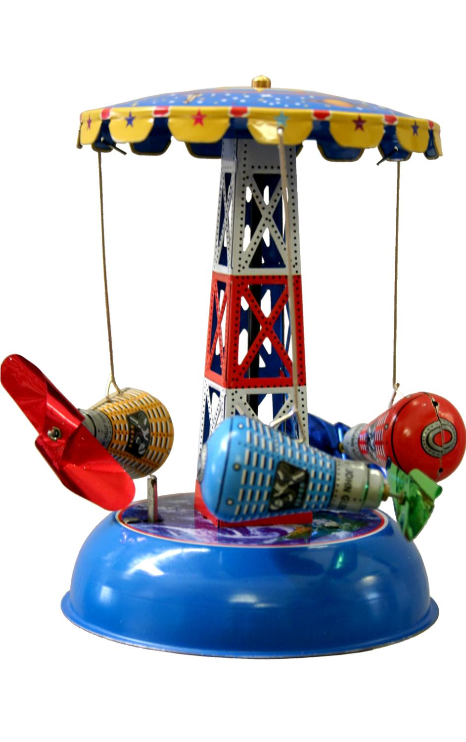 MS631 - Collectible Tin Toy - Carousel with Space Capsules - 6.5