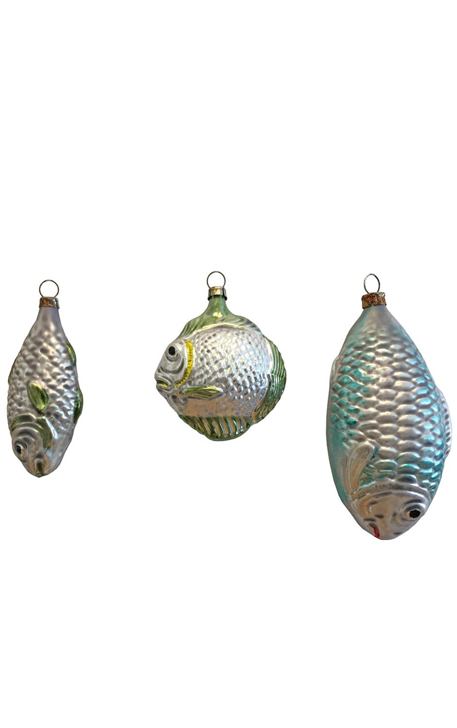 ZUX9 - Nostalgie Ornament - Assorted Glass Fish - Set of 3 - 3